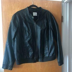 Faux leather derby jacket